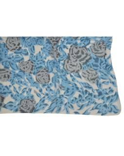 Šatka z viskózy, biely s šedo-modrou potlačou kvetín, 110x160 cm