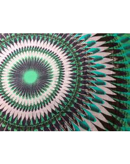 Šatka z viskózy, šedo-zeleno-modrý, veľká Mandala, 110x180 cm