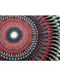 Šatka z viskózy, béžovo-červeno-modrý, veľká Mandala, 110x174 cm