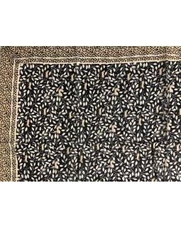Šatka z viskózy, tmavomodrý, béžovo-hnedý potlač lístkov a mačiek, 110x180cm