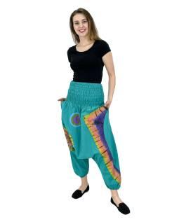 Turecké nohavice, dve vrecká, pružný pás, žabičkování v páse