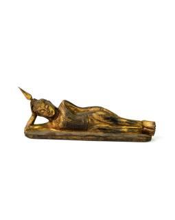 Narodeninový Budha, utorok, teak, zlatá patina, 23cm