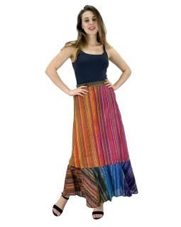 Dlhá farebná sukne, široký volaný, prúžky, guma na chrbte, dĺžka cca 97cm