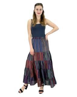 Dlhá farebná sukne, široký volaný, prúžky, guma v páse, dĺžka cca 94cm
