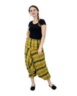 Turecké nohavice, žlté s pruhmi, pružný pás