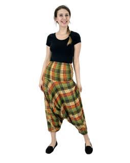 Turecké nohavice, zeleno-žlté, pružný pás