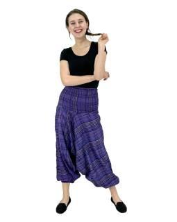 Turecké nohavice, fialovej, pružný pás