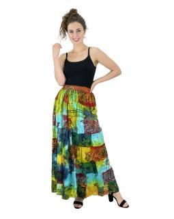 Dlhá patchworková sukňa, multifarebná, pružný pás na gumu