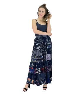 Dlhá patchworková sukňa, modrá, farebná potlač, guma v páse, dĺžka cca 106cm