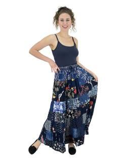 Dlhá patchworková sukňa, modrá, farebná potlač, guma v páse, dĺžka cca 102cm