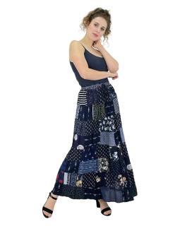 Dlhá patchworková sukňa, modrá, farebná potlač, guma v páse, dĺžka cca 100cm