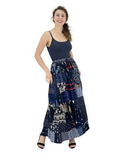 Dlhá patchworková sukňa, modrá, farebná potlač, guma v páse, dĺžka cca 103cm