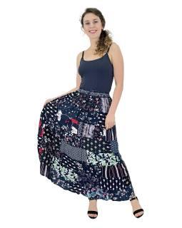 Dlhá patchworková sukňa, modrá, farebná potlač, guma v páse, dĺžka cca 99cm