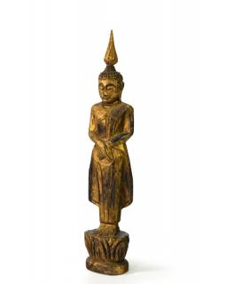 Narodeninový Budha, nerobí, teak, zlatá patina, 23cm
