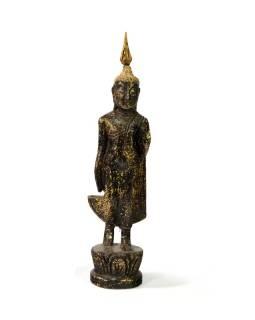 Narodeninový Budha, pondelok, teak, čierno-zlatá patina, 23cm