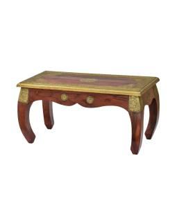 Ópiový stolík z palisandrového dreva zdobený kovaním, 80x40x42cm