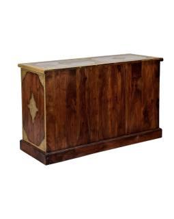 Komoda z palisandrového dreva s mosadzným kovaním, šuplíky, 120x45x75cm