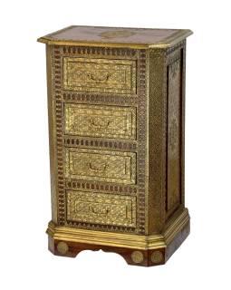 Šuplíková komoda z palisandrového dreva zdobená mosadzou, 55x40x90cm