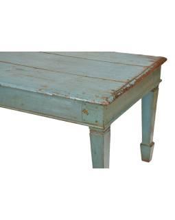 Konferenčný stolík z teakového dreva, tyrkysová patina, 185x68x61cm