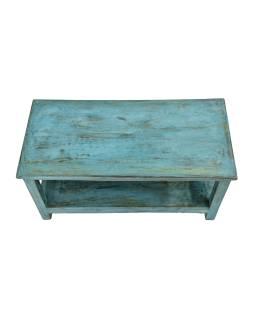 Konferenčný stolík z teakového dreva, tyrkysová patina, 93x44x47cm