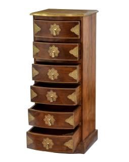 Komoda z palisandrového dreva s mosadzným kovaním a šuplíky, 45x40x110cm