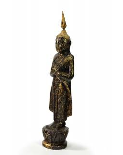 Narodeninový Budha, piatok, teak, čierno-zlatá patina, 23cm