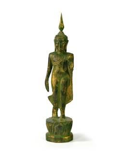 Narodeninový Budha, pondelok, teak, zelená patina, 23cm