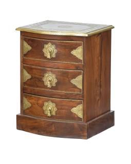 Komoda z palisandrového dreva s mosadzným kovaním a šuplíky, 45x40x60cm