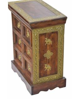 Nočný stolík z palisandru, zdobený mosadzným kovaním, 50x30x60cm