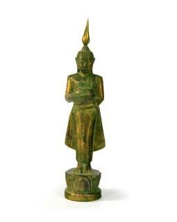 Narodeninový Budha, streda, teak, zelená patina, 23cm