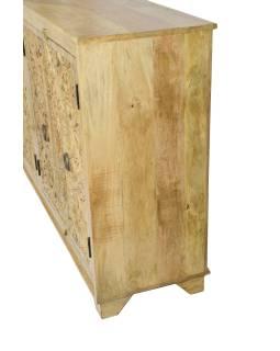 Komoda z mangového dreva, ručne vyrezávaná dvierka, prírodné úprava, 175x43x98cm