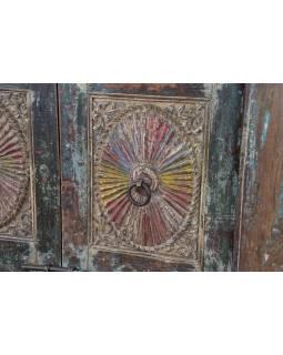 Antik dvere s rámom z Gujarati, teakové drevo, 155x17x221cm