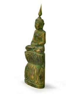 Narodeninový Budha, štvrtok, teak, zelená patina, 23cm