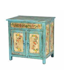 Ručne maľovaná skrinka z teakového dreva, 61x45x64cm