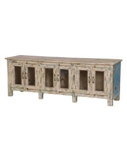 Presklená skrinka z teakového dreva, ružovo tyrkysová patina, 177x45x63cm