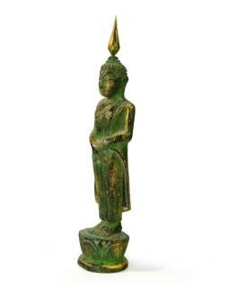 Narodeninový Budha, nedeľa, teak, zelená patina, 23cm