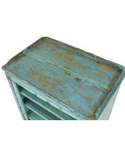 Knižnica z teakového dreva, tyrkysová patina, 68x44x94cm