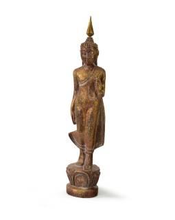 Narodeninový Budha, pondelok, teak, hnedá patina, 26cm