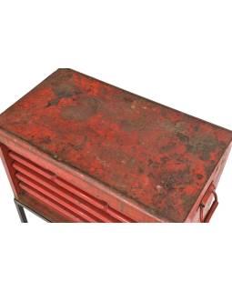 Starý dielenský zakladač so zásuvkami na stojane, 66x38x89cm