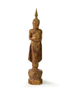 Narodeninový Budha, streda, teak, hnedá patina, 26cm