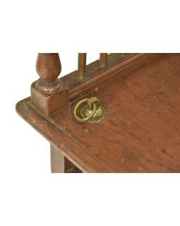 Stará lavička z teakového dreva, závesy pre hojdačku, 156x62x68cm