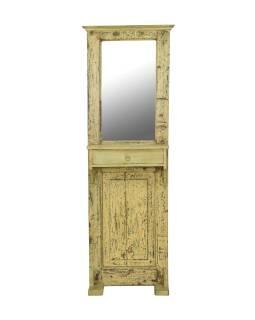 Zrkadlo v ráme na stojane, šuplík, antik teak, biela patina, 58x38x188cm