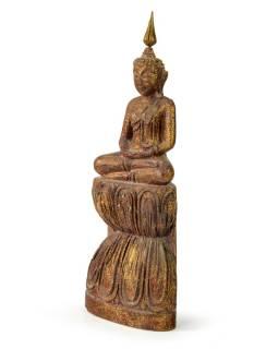 Narodeninový Budha, štvrtok, teak, hnedá patina, 26cm