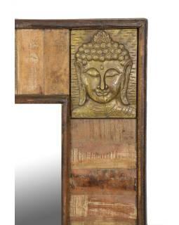 Zrkadlo v ráme, antik teak, kovania hlavy Budhu, 90x5x122cm