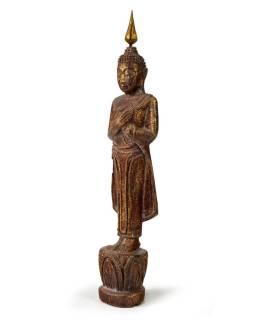 Narodeninový Budha, piatok, teak, hnedá patina, 26cm