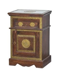 Malá skrinka - nočný stolík z palisandrového dreva s kovaním, 45x30x65cm