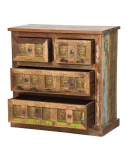 Komoda zo starého teakového dreva, mosadzné kovania, reliéfy Budhov, 85x40x85cm