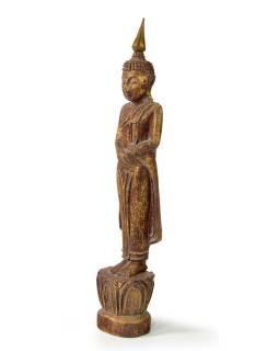 Narodeninový Budha, nedeľa, teak, hnedá patina, 26cm