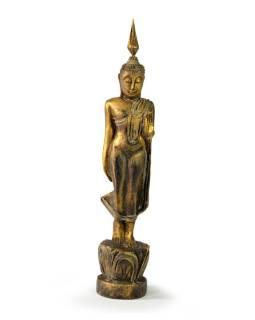 Narodeninový Budha, pondelok, teak, zlatá patina, 26cm