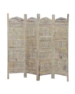 Paravan z mangového dreva, biela patina, 200x3x180cm
